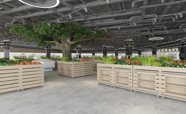 超市水果区3D模型【ID:142477124】