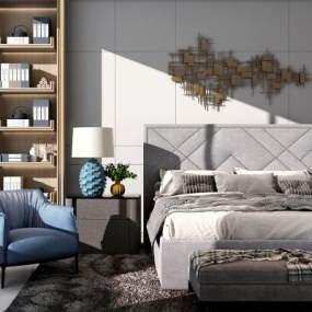 现代轻奢卧室3D模型【ID:543571285】