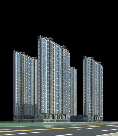 現代高層住宅3D模型【ID:133234732】
