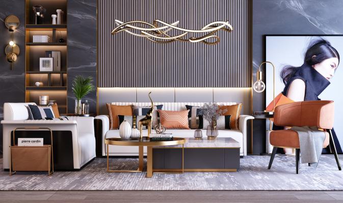 现代轻奢橙色客厅沙发组合3D模型【ID:641515608】