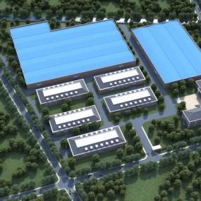 现代厂房办公楼鸟瞰图3D模型【ID:230993042】
