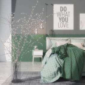 北欧双人床床头柜组合3D模型【ID:533735232】