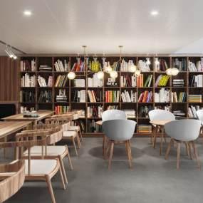 北欧咖啡厅书吧3D模型【ID:642414364】
