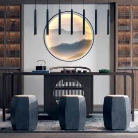 新中式茶桌椅吊灯组合3D模型【ID:632548159】