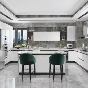 现代厨房岛台3D模型【ID:535780320】