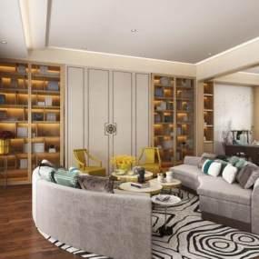 新中式别墅起居室 3D模型【ID:541415995】