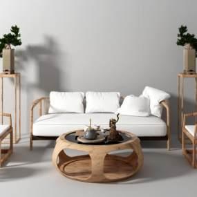新中式沙�l茶�鬃�椅3D模型【ID:643228775】