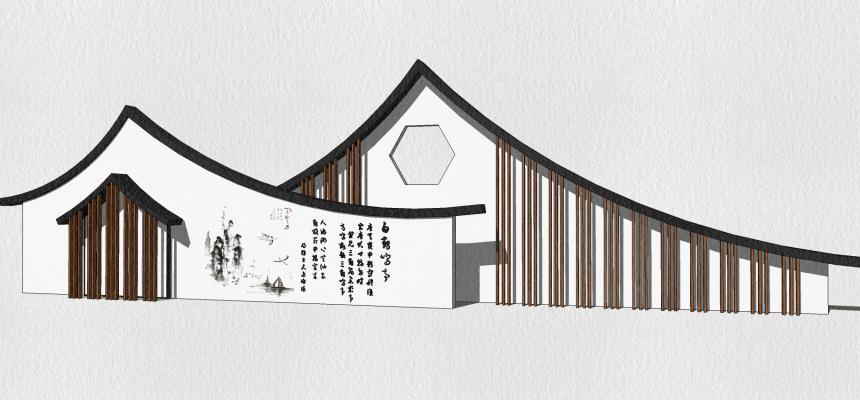 新中式景墻SU模型【ID:749199089】