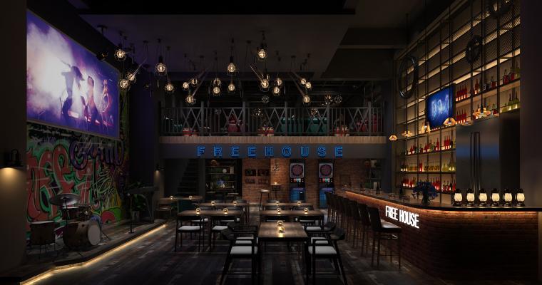 工业风酒吧3D模型【ID:843007037】