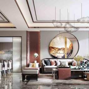 新中式客餐廳3D模型【ID:551258044】