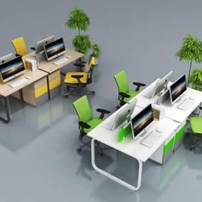现代办公桌椅组合3D模型【ID:930936131】