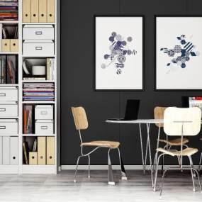 現代桌椅組合3D模型【ID:951041169】
