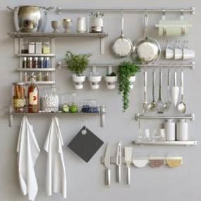 现代宜家厨房用品厨具3D模型【ID:233743822】
