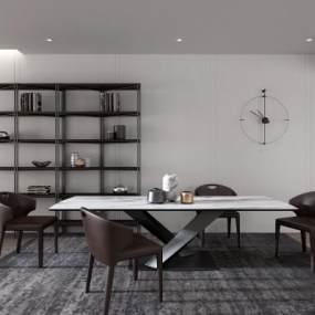 现代餐厅餐桌餐椅装饰架组合3D模型【ID:531604107】