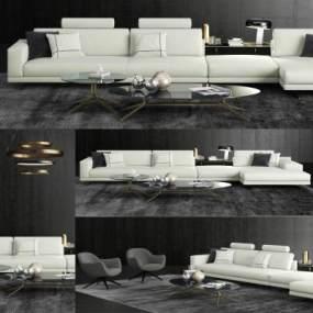 现代布艺转角沙发单椅茶几组合3D模型【ID:633514715】