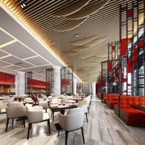 工装现代轻奢西餐厅3D模型【ID:637125235】