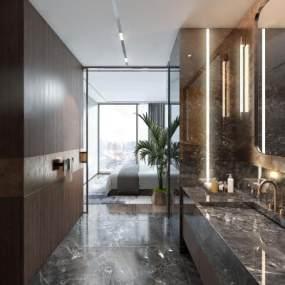 现代酒店客房 3D模型【ID:742372388】