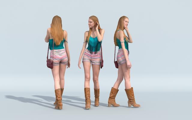 穿彩色短褲的女孩3D模型【ID:142743228】
