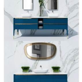 现代浴室柜洗手台3D模型【ID:632983496】