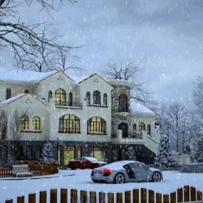 欧式别墅雪景3D模型【ID:132753312】