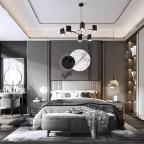 现代卧室3D模型【ID:544391255】
