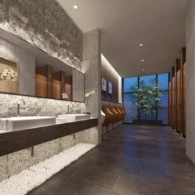 现代洗浴公共卫生间3D模型【ID:833094343】