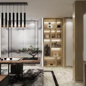 新中式茶室书房3D模型【ID:636083104】