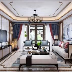 新中式风格客厅3D模型【ID:530617166】