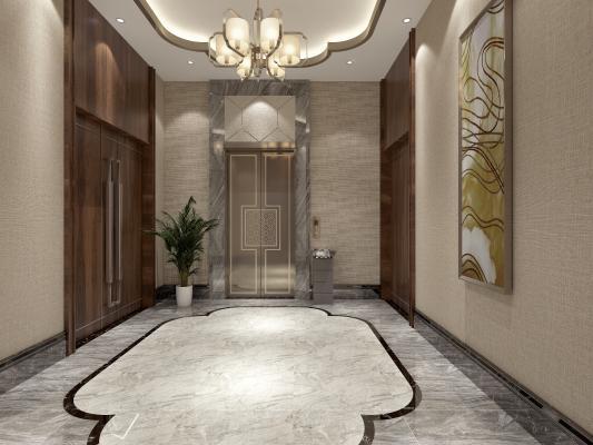 中式电梯间前室3D模型【ID:944037535】