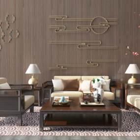 新中式沙发茶几组合3D模型【ID:635779782】