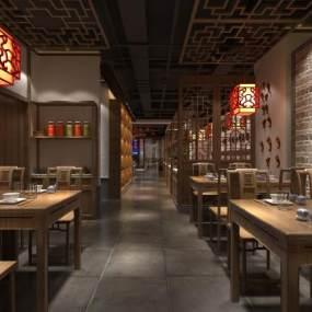 新中式餐厅3D模型【ID:649250244】