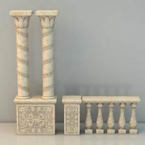 欧式柱子柱头3D模型【ID:236269174】