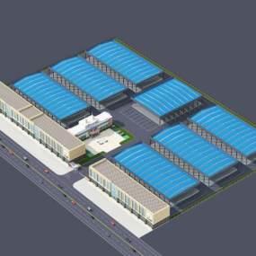 现代物流市场厂区鸟瞰图3D模型【ID:231461038】