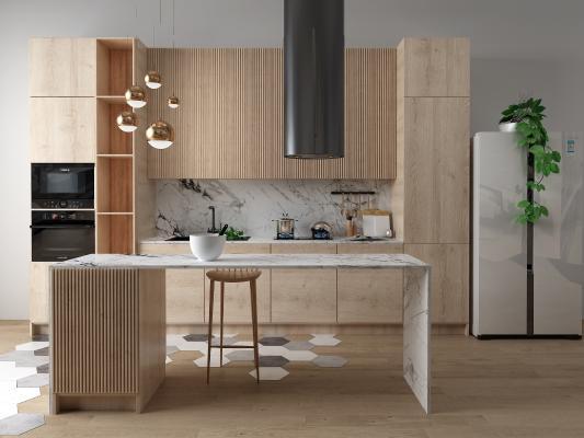 北欧开放式厨房 冰箱 吧台