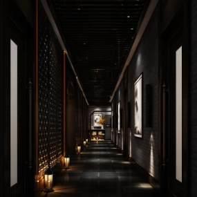 新中式走廊空间3D模型【ID:941639978】