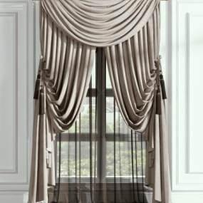 欧式窗帘3D模型【ID:232923686】
