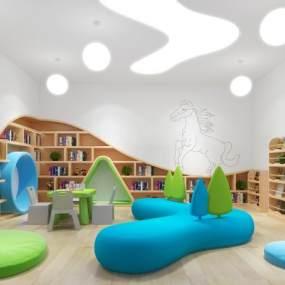 现代图书馆3D模型【ID:934512632】