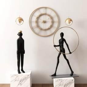 现代抽象人物雕塑摆件组合3D模型【ID:345484124】