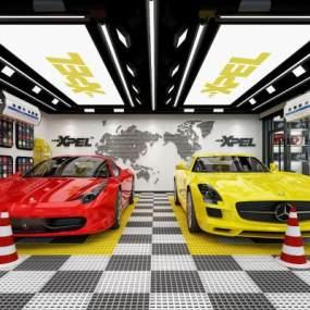 现代汽车美容4S店铺3D模型【ID:146378296】