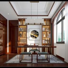 新中式书房3D模型【ID:545568430】