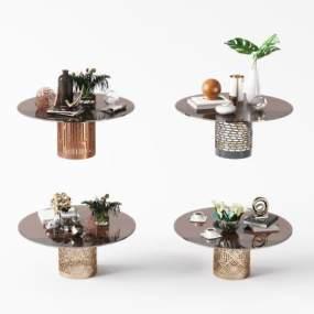 新中式金属玻璃茶几组合3D模型【ID:653363804】