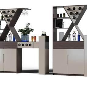 现代酒柜3D模型【ID:644186233】