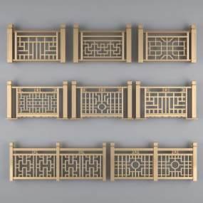 新中式金属栏杆扶梯扶手3D模型【ID:330570759】