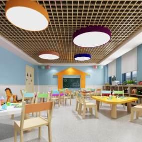 现代幼儿园教室3D模型【ID:933696632】