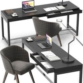 現代實木書桌椅臺燈筆記本電腦組合3D模型【ID:943865055】
