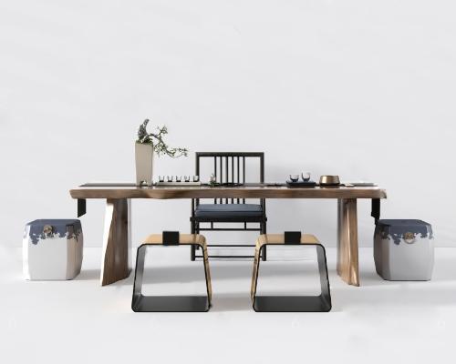 新中式茶桌椅3D模型【ID:745380720】