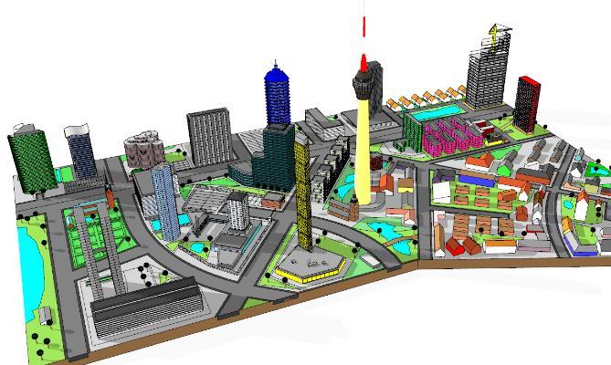 現代城市簡模規劃SU模型【ID:351693222】