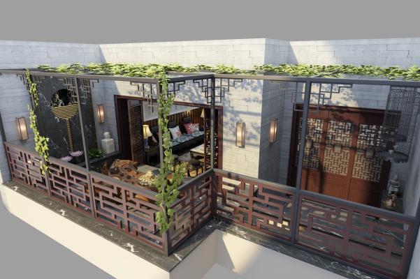中式阳台茶室3D模型【ID:645888683】