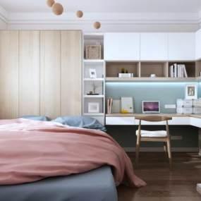 现代卧室3D模型【ID:544450422】