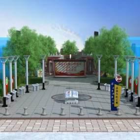 现代风格法治文化公园3D模型【ID:149185403】
